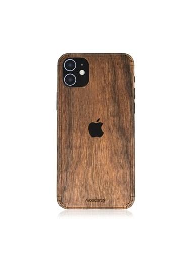 MobilCadde İphone 11 Doğal Ceviz Ahşap Telefon Kaplama Kahve
